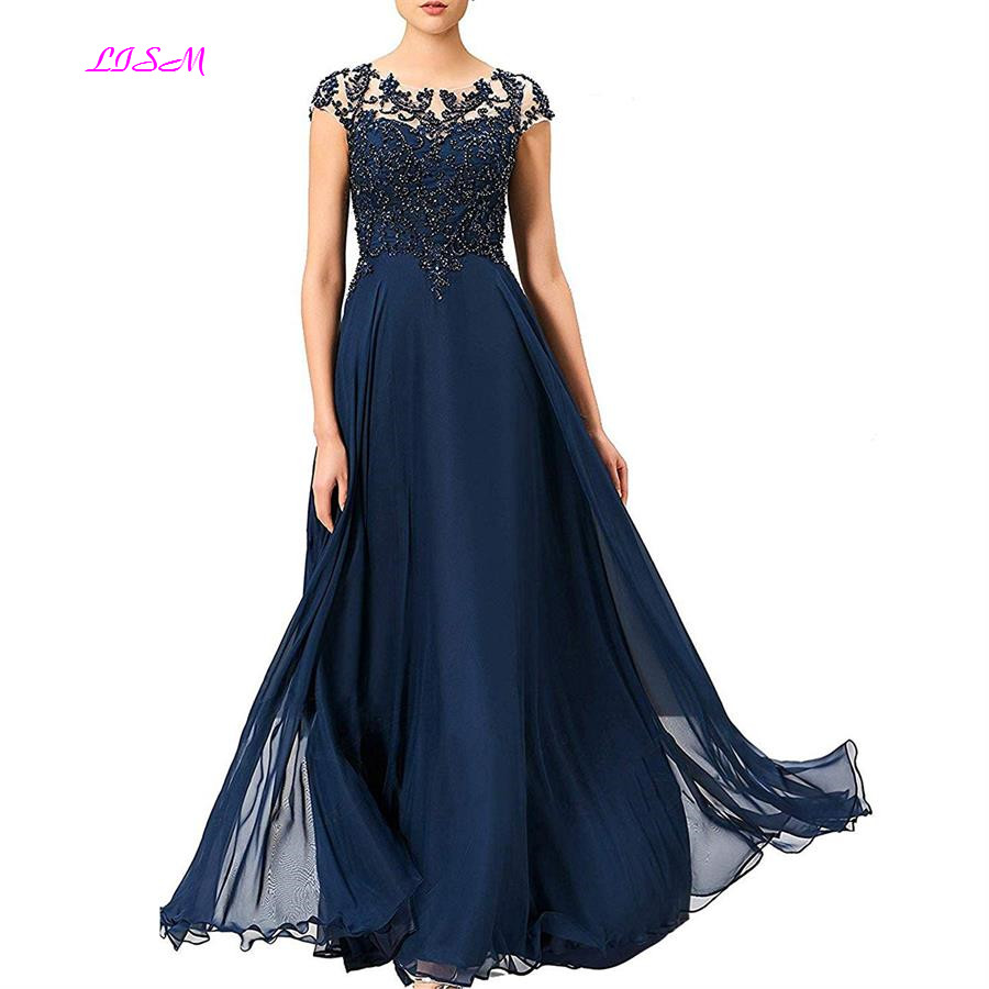 A-Line Cap Sleeves Chiffon Evening Dresses Scoop Beaded Appliques Prom Gowns Sheer Back Long Formal Party Dress Robe Longue
