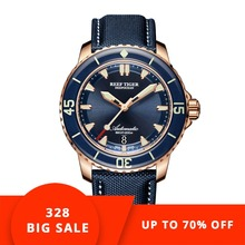 Reef Tiger/RT Super Luminous Dive Watches for Men Rose Gold Blue Dial Watches Analog Automatic Watches RGA3035