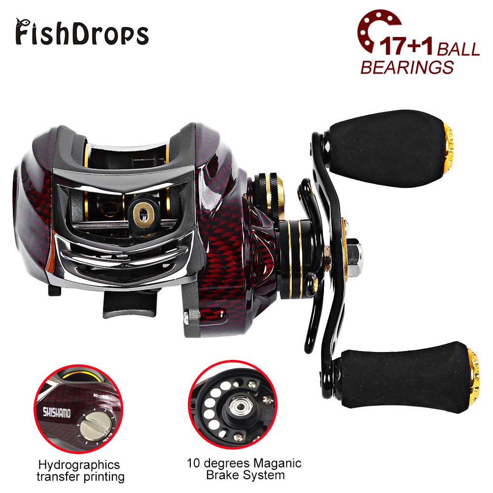 FISHDROPS BC150 17 + 1 BB Baitcasting Fishing Reels 6.3:1 LEFT HAND/RIGHT HAND Metal Fishing Bait with One Way Clutch
