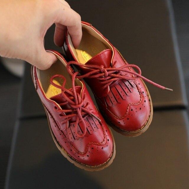 2017 Retro Children Shoes Girls Shoes Princess Fashion Lace Up Matt PU Leather Shoes Vintage Casual Oxfords Kids Shoes Boy Flats