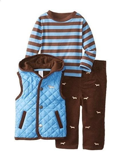 VLL3-014/015/016, Original, Little Me Toddler Boys 3-Piece Vest Set, With Long-sleeve T + Pants + Vest, Free Shipping