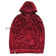 2017 velvet new design Cashmere wool hoodie Sweatshirts men Wine red color fashion sweatshirts casual pullover with a hood