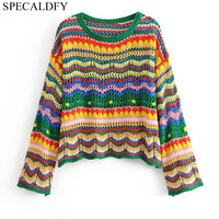 2018 Autumn Crochet Sweaters Women Sweaters And Pullovers Runway Designer Rainbow Striped Sweater Female Tops Jumper Pull Femme