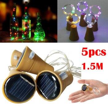 2019 nouveaux produits chauds 5 pièces 1.5M bouchon de bouteille de vin en liège solaire fil de cuivre chaîne lumières lampes de fée décoration de fête en plein air