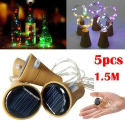 2019 novos produtos quentes 5 pçs 1.5 m solar rolha garrafa de vinho cortiça fio cobre luzes da corda lâmpadas fadas ao ar livre decoração festa