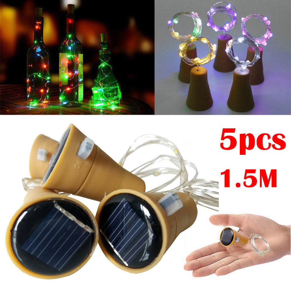 5PCS 1.5M Solar Cork Shaped LED String Light Copper Wire String Holiday Outdoor Fairy Lights For Party Wedding Decoration