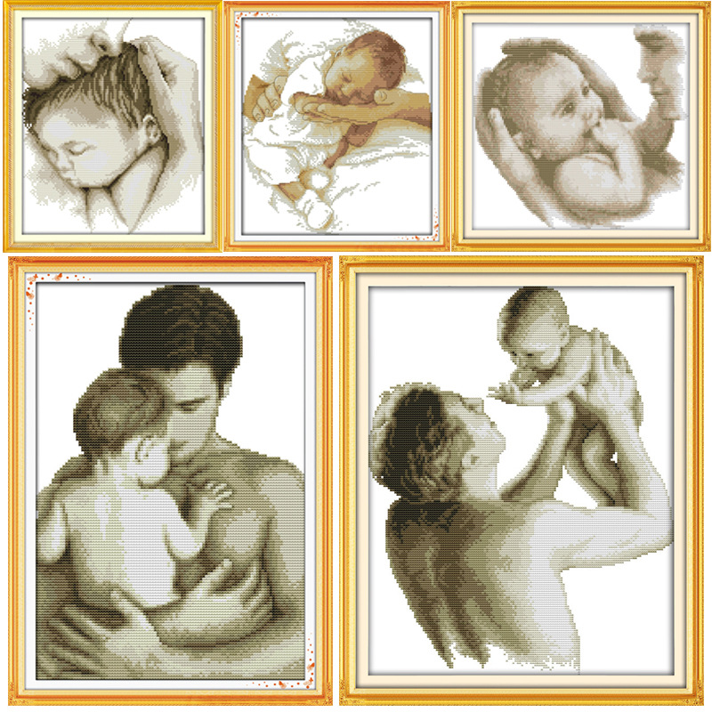Great Paternal Love Fader och baby Canvas DMC räknade kinesiska Cross Stitch Kit tryckt Crossstitch set Broderi Needlework