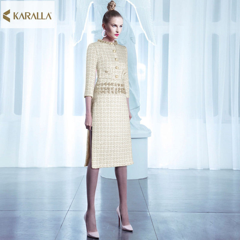 runway women spring elegant casual designer midi dress