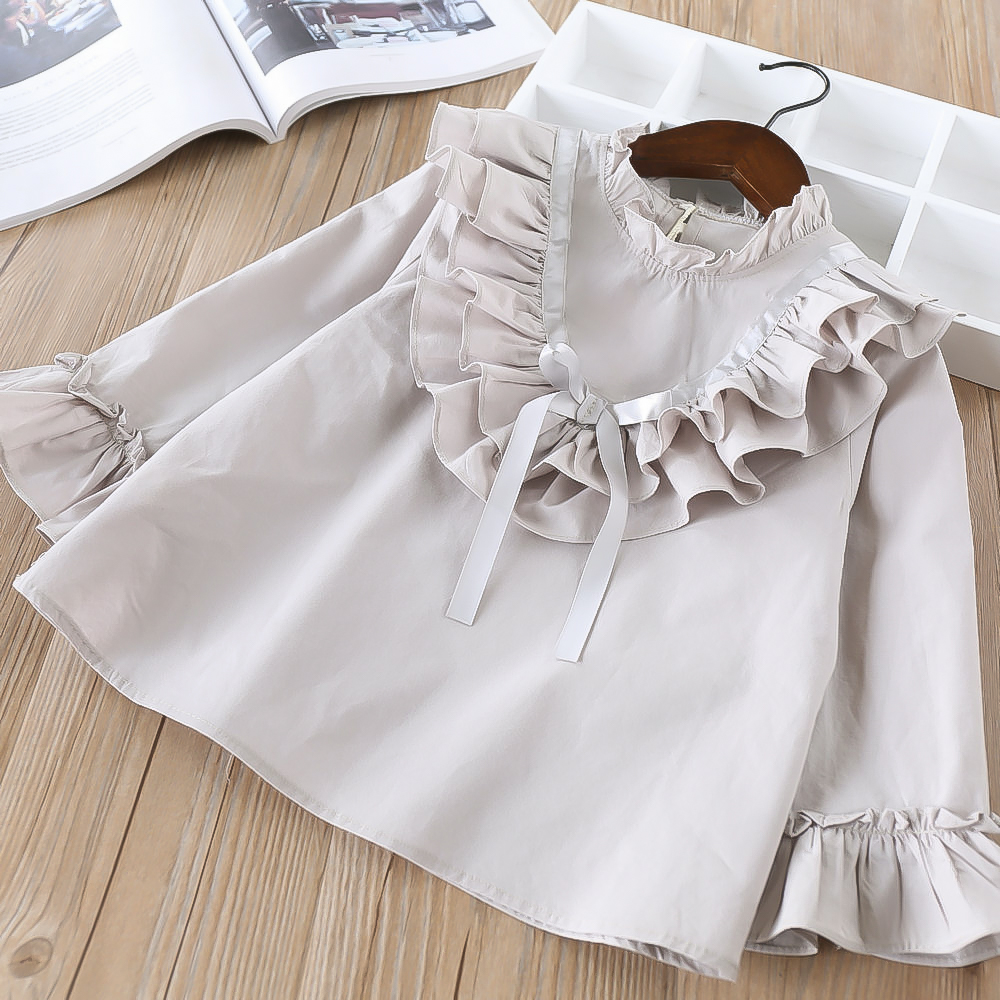 Hurave elegant baby ruffles cute Solid   blouses   Girls Clothes Children full Sleeve   shirts   causal cotton lacing infant top