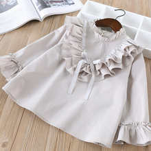 Hurave elegant baby ruffles cute Solid blouses Girls Clothes Children full Sleev