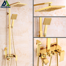 Luxury Brass Golden Shower Faucet Single Lever 8″ Rain Shower Mixer Kit with Bidet Sprayer / Hand Shower /Tub Filler