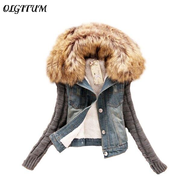 2017 Women Spring Autumn Short Denim Jacket plus size Women Winter Slim Yarn Large Fur Collar Lamb Cotton Denim <font><b>Jeans</b></font> Outerwear