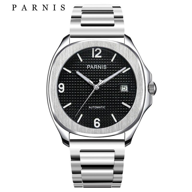 Parnis мужские s часы лучший бренд класса люкс стальные механические Автоматические часы с разворачивающимся Мужские t застежка черные Серебр