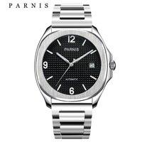 Parnis Mens Watches 톱 브랜드 럭셔리 스틸 기계식 자동 시계 배포 걸쇠 블랙 실버 시계 남성 선물 용품 기계식 시계    -