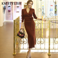 Autumn Sweater Dress 2017 New Women S Temperament OL Slim Sexy V Neck Knitting Dress With