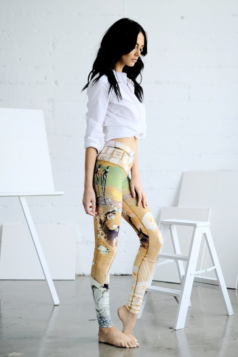 W-Yunna Printing Women Floral Print Yellow Sporting Leggins High Waist Ankle-Length Pant Quick-drying Sweatpants Fitness Legging