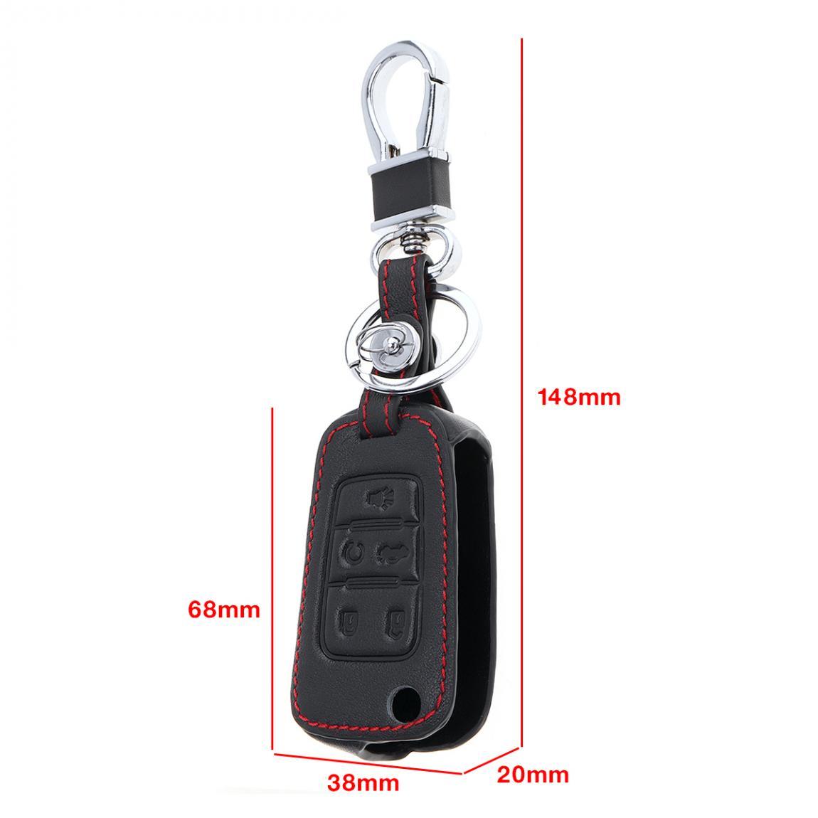 5 Knoppen 3d Lederen Autosleutel Cover Protector Houder Met Opknoping Gesp Voor Chevrolet Camaro Chevrolet Buick Gmc 2010- 2017