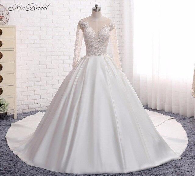 53e0b749baf7 Principessa Puffy abito di Sfera Abiti Da Sposa con Manica Lunga Vestido de  Noiva 2017 Appliques