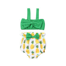 2019 New Newborn Infant Baby Girl Sleeveless Bow Clothes Sleeveless Top Pineapple Printed Shorts Holiday Fashion Outfit(China)