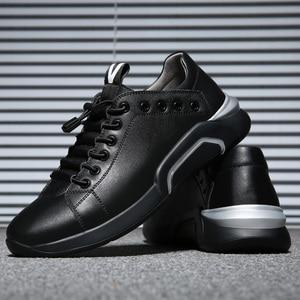 Image 4 - Misalwa עור פרה עור גברים של מעלית נעלי אופנה שחור סניקרס קוריאני אופנתי חם פנאי דירות עבה בלעדי מוקסינים בסיסי