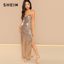 SHEIN Gold Party Sexy Backless Split Side Sequin Cami Solid Sheath Maxi Dress 2018 Summer Club Modern Lady Women Dresses