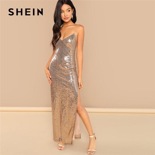 052506189de SHEIN Gold Party Sexy Backless Split Side Sequin Cami Solid Sheath Maxi  Dress 2018 Summer Club