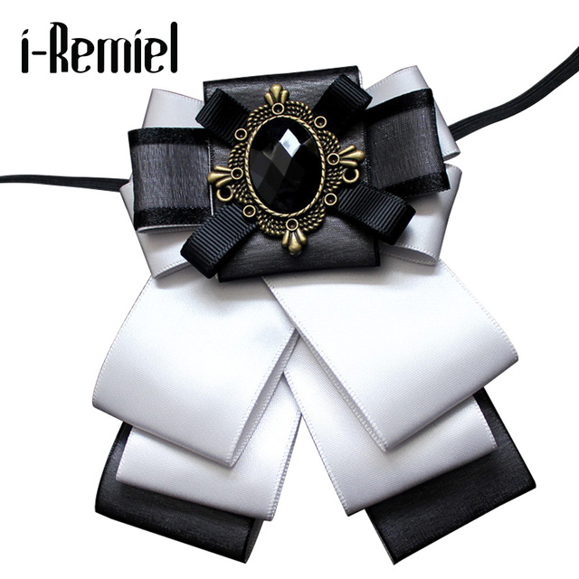 Я-Remiel бантиком бантом брошь камея цветок ткани со стразами и броши Винтаж значок Роскошные галстук Broche для для мужчин