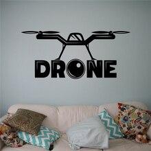 Aire Drone Quadcopter con Cámara de Pared Calcomanía de Vinilo Etiqueta de La Pared aviones Inicio Wall Art Decor Ideas Diseño Interior Habitación de Los Niños X102(China)