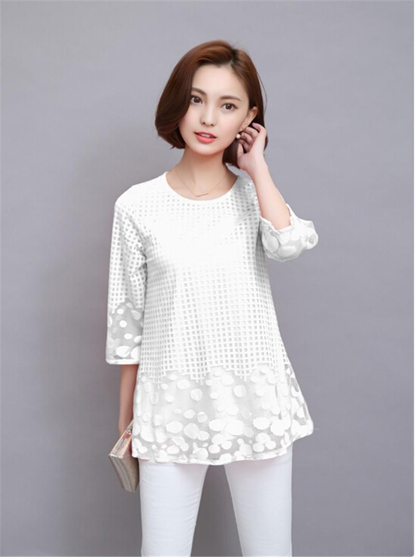 Plus Size 4XL 5XL 6XL  Luxury Lace O Neck  Women Blouse Shirt Noble Long Mesh sleeve Shirt Blouse Vintage tops Blusas Femininas (11)