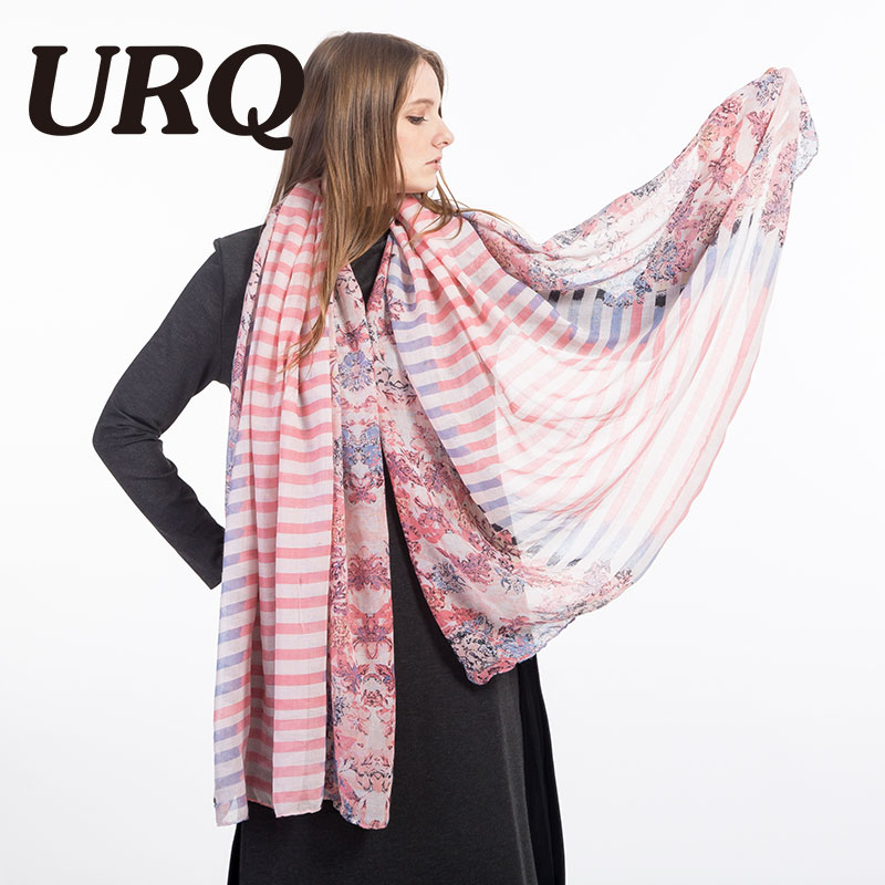 Woman Printed Cotton Scarfs Oversized Euro Style Flower & Stripe Print Large Size Lady Long Soft Viscose Scarves V10A18803