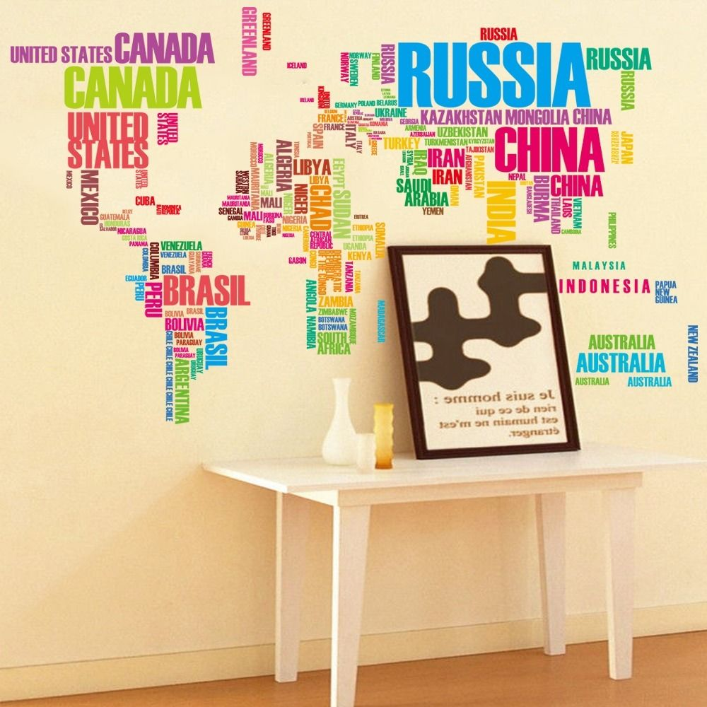 colorful letters world map wall stickers living room home ...