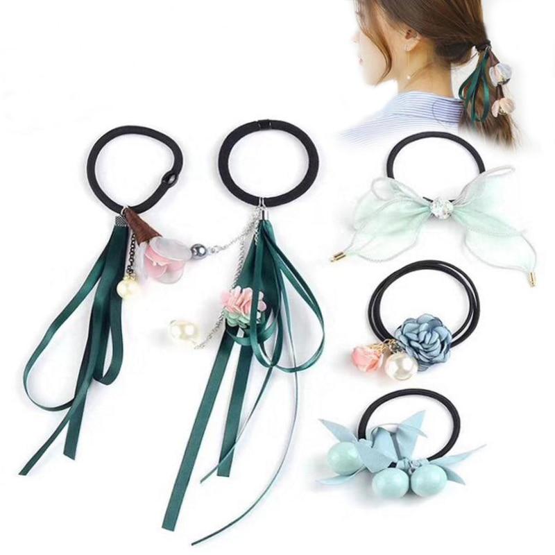 LOEEL 5Pcs/Lot Fashion Women   Headwear   Set Rubber Band Set Girls Hair Accessories Long Hair Ribbon Flower Bow Headband Hair Band