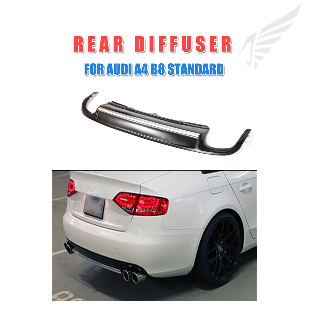 PU Black Painted Rear Lip Diffuser Spoiler With Silver Strip Fit for Audi A4 B8 Standard Bumper Non-Sline 2009-2012 yandex w205 amg style carbon fiber rear spoiler for benz w205 c200 c250 c300 c350 4door 2015 2016 2017