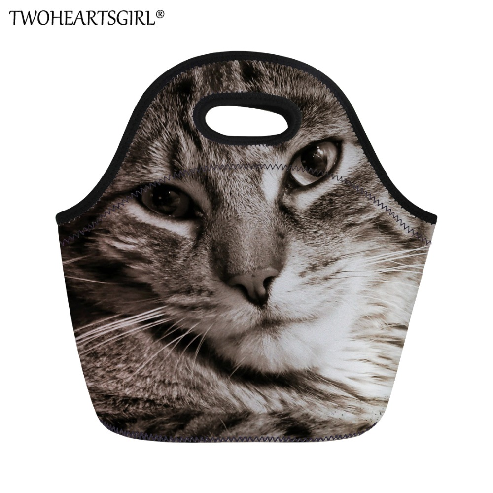 TWOHEARTSGIRL Cat Pattern Women Brand Food Fresh Keep Lunch Bag Kids Picnic Travel Storage Thermal Insulated Fashion Lunch Bags