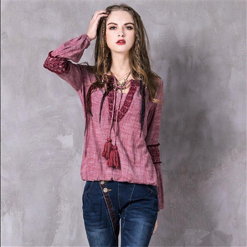 Vintage Women Blouses 2017 Fashion Cotton Linen Blusas V-Neck Lantern Sleeve Floral Embr ...