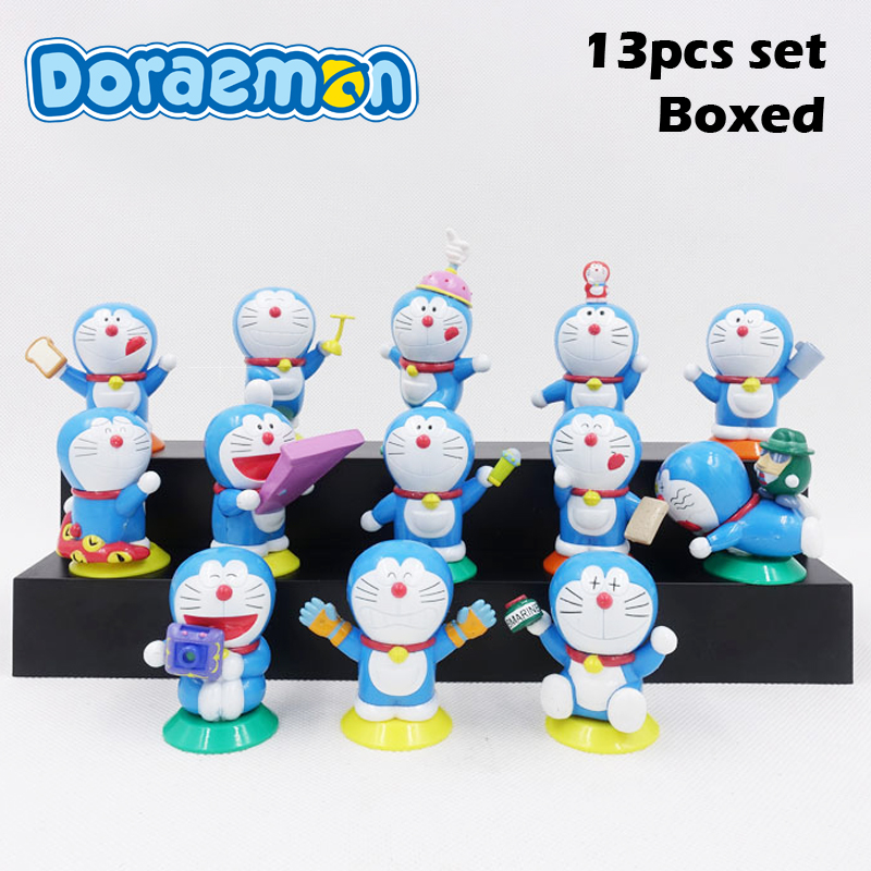 Free Shipping 13pcs Cute Doraemon Solid Set Mini Decoration Boxed PVC Action Figure Collection Model Doll Toys Gift