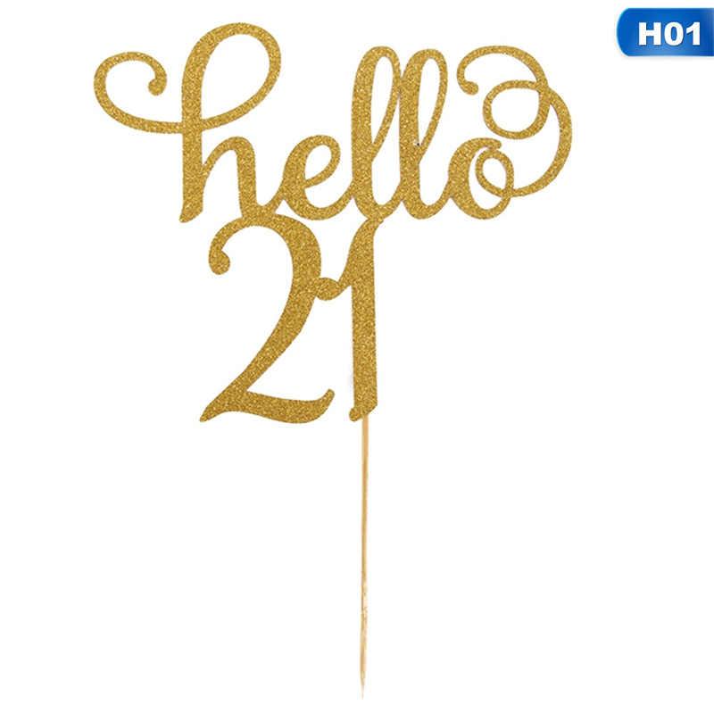 Hello21 30 40 50 60 שנים עוגת קישוט כרטיס באיכות גבוהה מכירה לוהטת