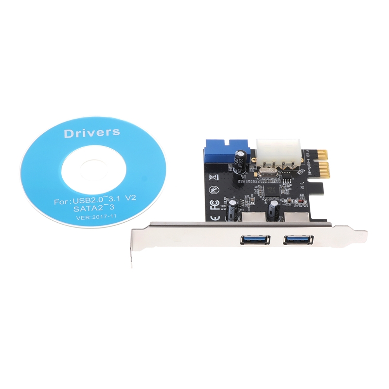 USB3.0 X2 PCI-E Expansion Card External 19pin PCIe Card 4pin IDE Power Connector