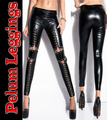 Nuevo 2016 Mujeres Sexy Gothic Punk Rock Wet Look Fux Leather Corset Lace Up Leggings Leggins Pantalones de Celebridades envío gratis