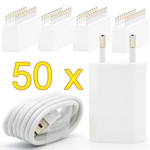Image 1 - 50 ชิ้น/ล็อต EU ปลั๊ก USB Charger สำหรับ iPhone 8 PIN สายชาร์จ + อะแดปเตอร์ชาร์จสำหรับ Apple iPhone 6 7 Plus 5S 5 สีขาว
