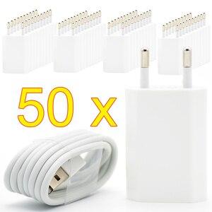 Image 1 - 50 ピース/ロット eu プラグウォール usb 充電器 8 ピン充電ケーブル + 充電器 apple の iphone 5 5g 6 7 プラス 5 4s 5 ホワイト色