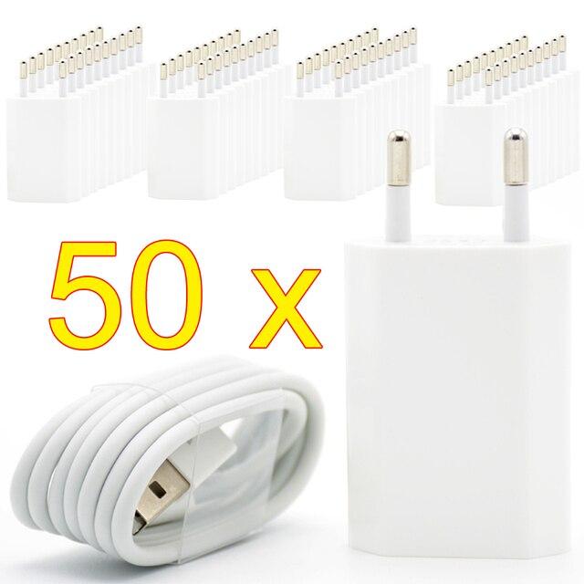 50 ピース/ロット eu プラグウォール usb 充電器 8 ピン充電ケーブル + 充電器 apple の iphone 5 5g 6 7 プラス 5 4s 5 ホワイト色