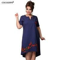COCOEPPS Fashionsble Embroidery Dress 2017 Summer Large Size V Neck Women Dress Plus Big Size Loose