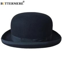 BUTTERMERE Women Men Black Fedora Hat Male Female Wool Magician Top Edge Bowler Camel British Style Fedoras