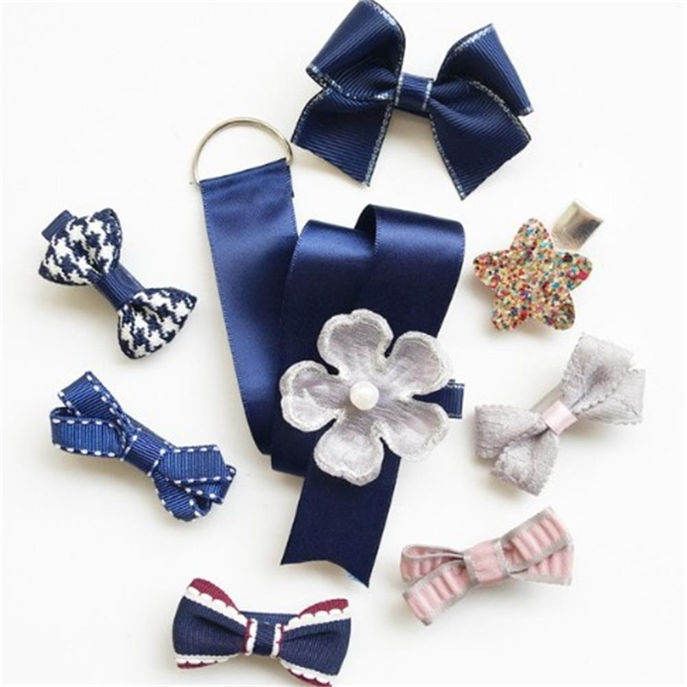 1Set=8Pcs! New Brand Flower Bow Hairpins Bijoux De Tete Crown Pearl Hair Clip Women Girl Barrettes Accessories Jewelry