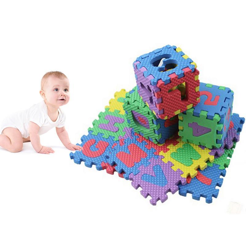 36PCS Foam Floor Mat Children Cartoon Alphanumeric Crawling Baby 6 * 6cm Puzzle Kindergarten Cognitive Education Puzzle