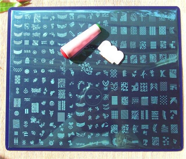 XXXL32CM * 26 СМ Б Конструкций Для Ногтей Красоты Nail Art Image Stamp Штамповка Плиты + 1 Силиконовые Ногтей Печать 3D Шаблоны Ногтей Трафареты