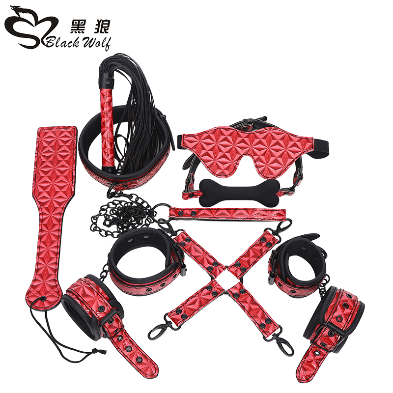 Adult Games 8pcs/Set Leather Diamond Texture Handcuffs Gag Whip Mask Erotic Toy Fetish Sex Bondage Restraint Sex Toy for Couples adult games 8 in 1 pink bondage kit set neck collar whip ball gag handcuffs rope eye mask fur sex fetish toy