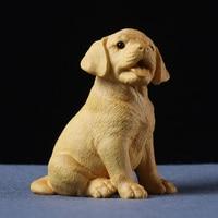 8CM Wood Cute Labrador Retriever puppy statue carving Dog sculpture anilmal home decoration Wood craft figurine Miniature