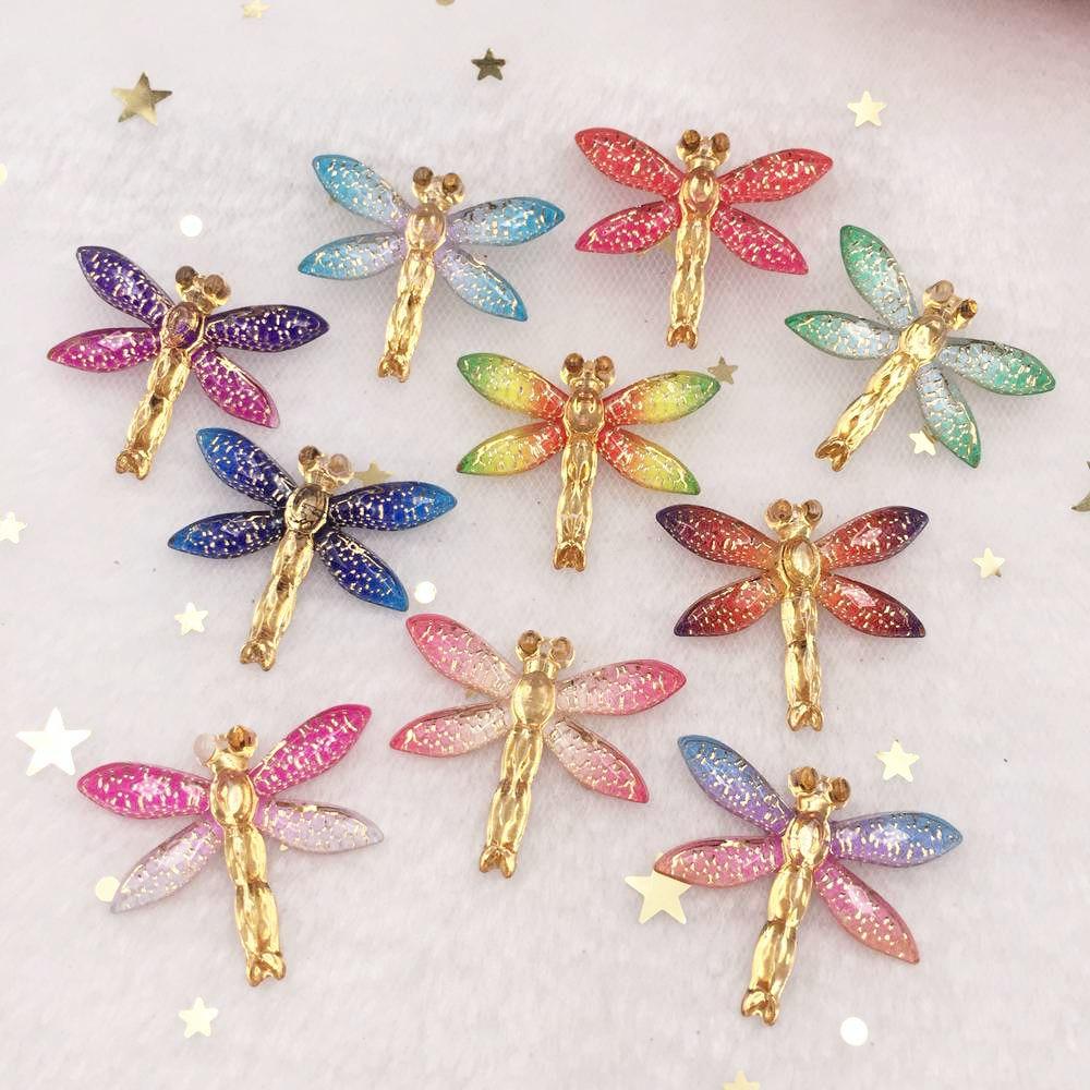 New 10pcs Resin Bling Colorful Dragonfly Flatback Rhinestone 1 Hole Ornaments DIY Wedding Appliques Craft W80